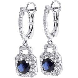 18K White Gold 2.82 ct Blue Sapphire Diamond Womens Earrings