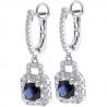 Womens Sapphire Diamond Dangle Earrings 18K White Gold