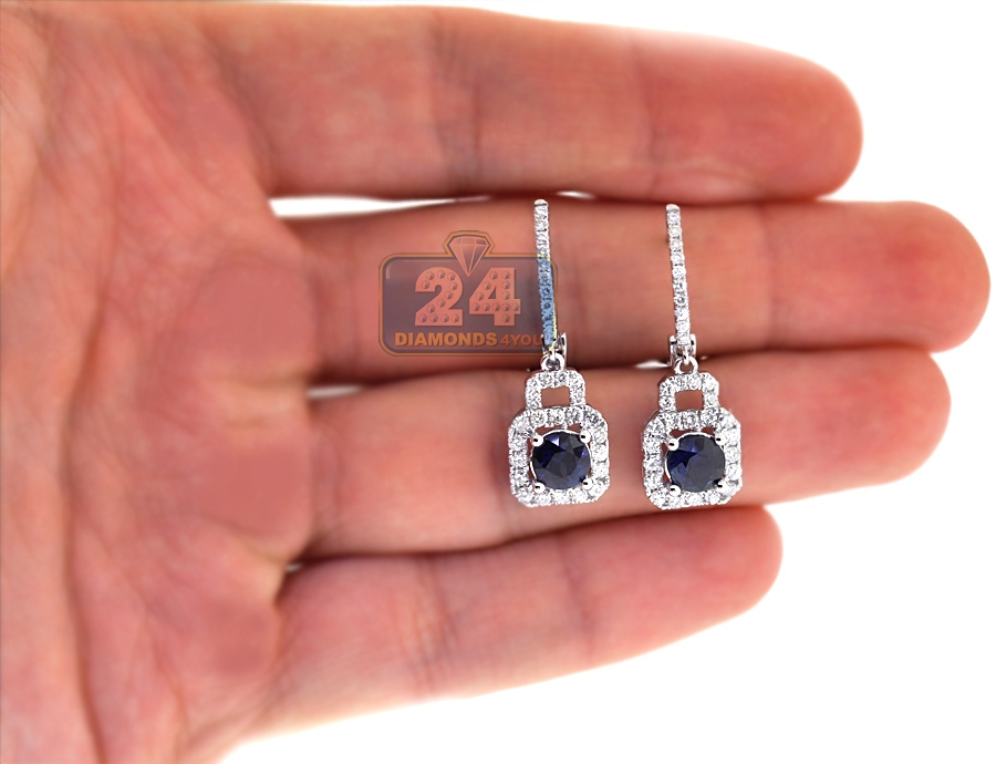 Womens Sapphire Diamond Dangle Earrings 18k White Gold 2 82 Ct