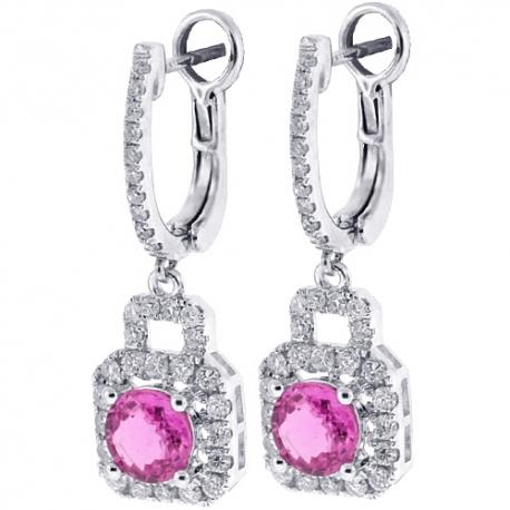 Womens Pink Sapphire Diamond Drop Earrings 18K White Gold 3.47 ct