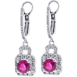 18K White Gold 1.97 ct Ruby Diamond Womens Drop Earrings