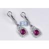 18K White Gold 1.97 ct Ruby Diamond Womens Drop Earrings