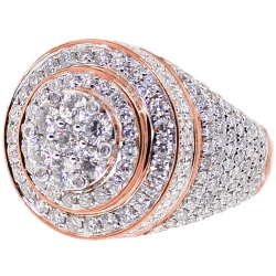 14K Rose Gold 4.58 ct Diamond Cluster Mens Round Ring