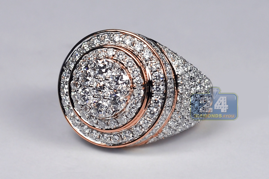 Mens Diamond Round Cluster Pinky Ring 14k Rose Gold 4 58 Ct