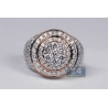 Mens Diamond Round Cluster Pinky Ring 14K Rose Gold 4.58 ct
