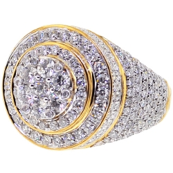14K Yellow Gold 4.38 ct Diamond Cluster Mens Round Ring