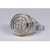 Mens Diamond Cluster Round Pinky Ring 14K Yellow Gold 4.38 ct