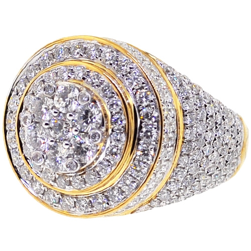 Mens Diamond Cluster Round Pinky Ring 10k Yellow Gold 4 73 Ct