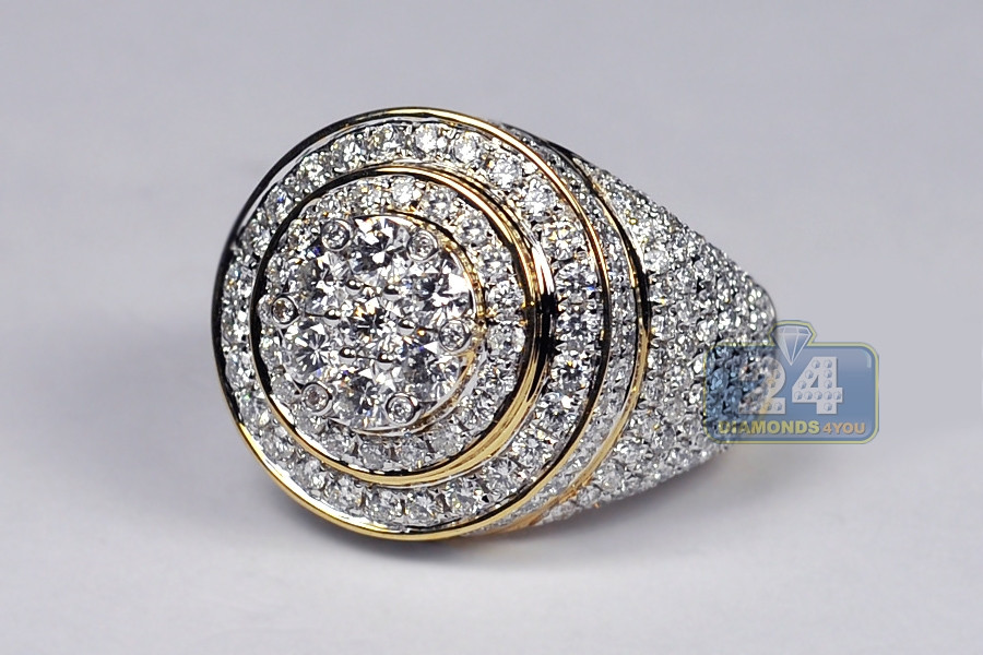 d19be0ae1c93b 10K Yellow Gold 4.73 ct Diamond Cluster Mens Round Ring