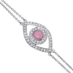 14K White Gold 0.15 ct Diamond Womens Evil Eye Bracelet 7 Inch