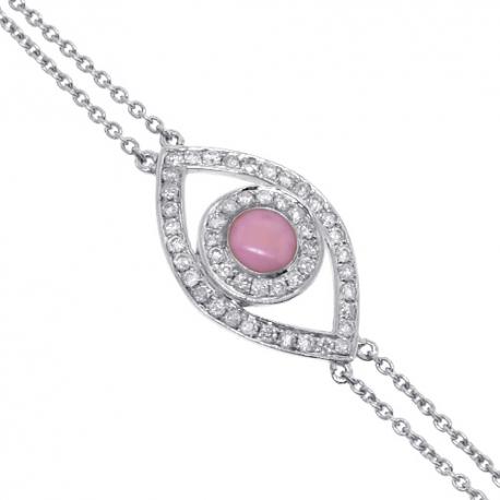 Womens Diamond Evil Eye Bracelet 14K White Gold 0.15 ct 7 Inches