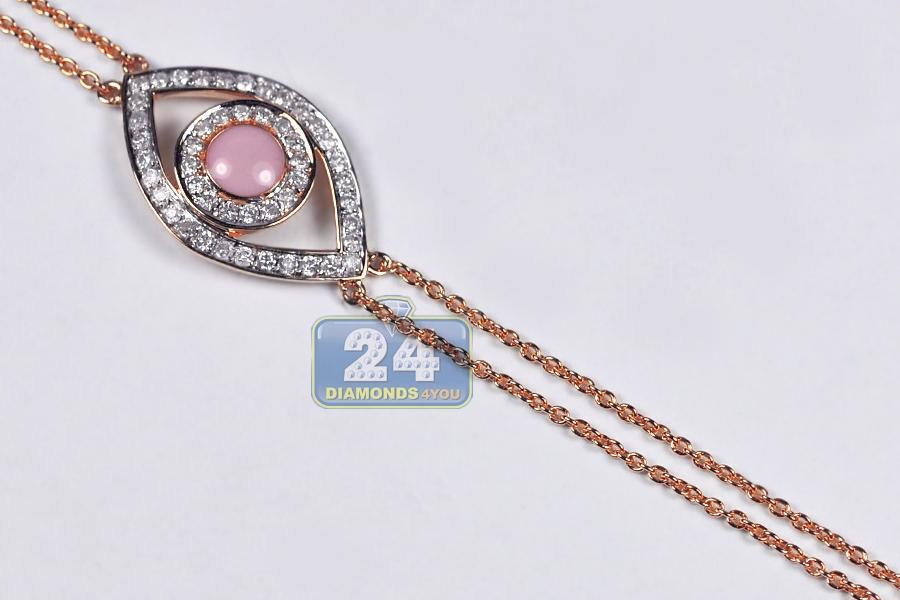 Womens Diamond Evil Eye Bracelet 14k Rose Gold 0 15 Ct 7