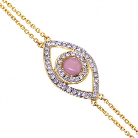 Womens Diamond Evil Eye Bracelet 14K Yellow Gold 0.15 ct 7 Inches