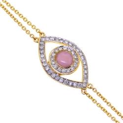 14K Yellow Gold 0.15 ct Diamond Womens Evil Eye Bracelet 7 Inch