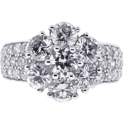 Womens Diamond Cluster Flower Ring 18K White Gold 3.75 ct