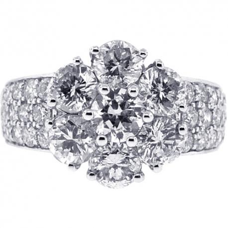 Womens Diamond Cluster Flower Ring 18K White Gold 3.75 ct