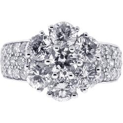 18K White Gold 3.75 ct Diamond Cluster Womens Ring