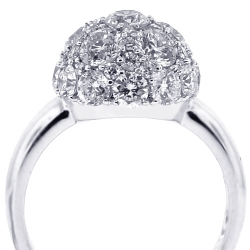 Womens Diamond Cluster Ball Ring 18K White Gold 3.82 ct
