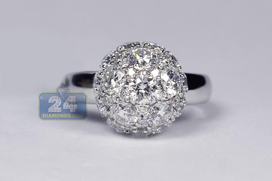 Womens Diamond Cluster Ball Ring 18k White Gold 3 82 Ct