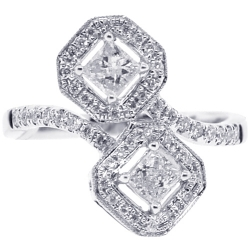 Womens Diamond Solitaire Bypass Ring 18K White Gold 1.00 ct