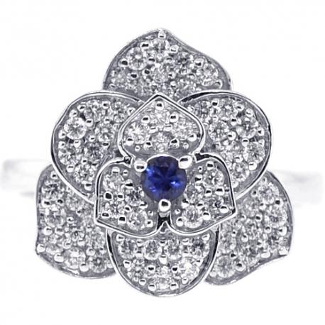 Womens Diamond Blue Sapphire Flower Ring 18K White Gold 0.72 ct