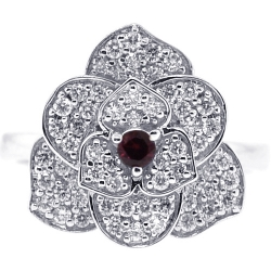 Womens Diamond Ruby Flower Ring 18K White Gold 0.72 ct