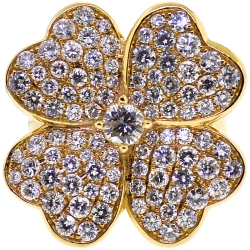 18K Yellow Gold 3.01 ct Diamond Womens Flower Ring