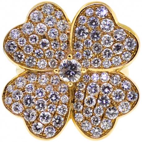 Womens Diamond Flower Ring 18K Yellow Gold 3.01 ct