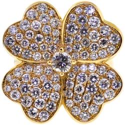 18K Yellow Gold 3.01 ct Diamond Womens Flower Ring