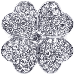 18K White Gold 3.02 ct Diamond Womens Flower Ring