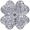 Womens Diamond Flower Ring 18K White Gold 3.02 ct