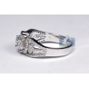 Womens Diamond 3 Stone Accent Ring 18K White Gold 1.33 ct