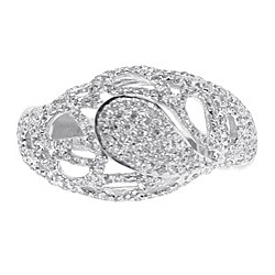 14K White Gold 0.84 ct Diamond Vintage Openwork Dome Ring