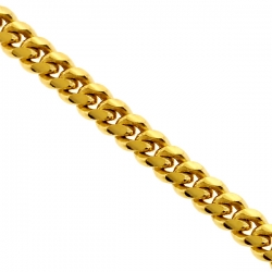 Solid Yellow Sterling Silver Miami Cuban Link Mens Chain 3.2 mm