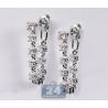 Womens Diamond Loop Earrings 14K White Gold 1.34 ct