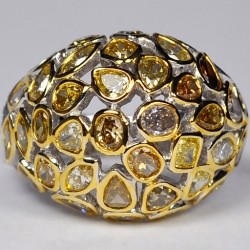 14K White Gold 5.66 ct Fancy Yellow Diamond Womens Ring