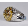 Womens Bezel Set Fancy Yellow Diamond Ring 14K White Gold 5.66 ct