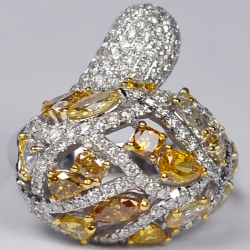 14K White Gold 5.19 ct Fancy Yellow Diamond Womens Bypass Ring