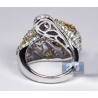 14K White Gold 5.19 ct Fancy Diamond Bypass Dome Womens Ring