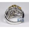 14K White Gold 4.87 ct Fancy Diamond Openwork Dome Womens Ring