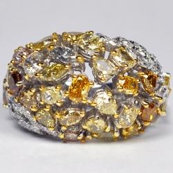 14K White Gold 6.53 ct Fancy Yellow Diamond Womens Dome Ring