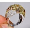Womens Fancy Yellow Diamond Dome Ring 14K White Gold 6.53 ct