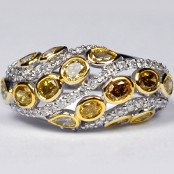 Womens Fancy Yellow Diamond Band Ring 14K White Gold 2.32 ct