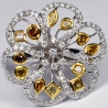 Womens Fancy Yellow Diamond Flower Ring 14K White Gold 3.48 ct