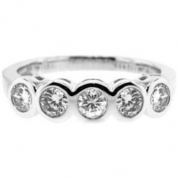 14K White Gold 1.03 ct 5 Diamond Bezel Set Womens Band Ring