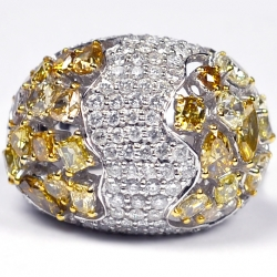 14K White Gold 6.31 ct Fancy Yellow Diamond Womens Dome Ring