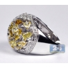 14K White Gold 6.31 ct Multicolored Diamond Womens Dome Ring