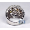 14K White Gold 4.35 ct Fancy Diamond Openwork Dome Womens Ring