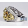 14K White Gold 5.06 ct Fancy Diamond Vintage Womens Dome Ring