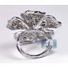 14K White Gold 4.69 ct Fancy Diamond Womens Vintage Flower Ring